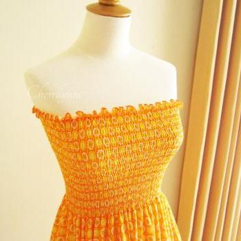 Orange Jersey Smocked Dress